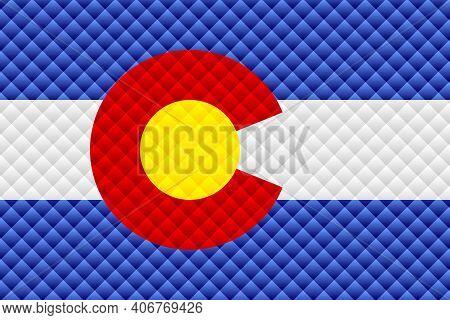 Mosaic Flag Of The Colorado - Illustration,  Three Dimensional Flag Of Colorado