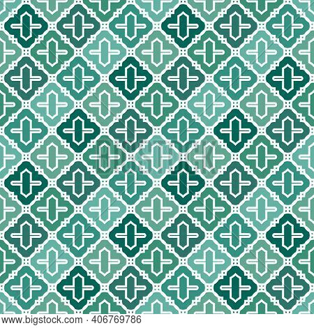 Seamless Surface Design With Ogee Ornament. Oriental Traditional Pattern With Repeated Mosaic Tile.