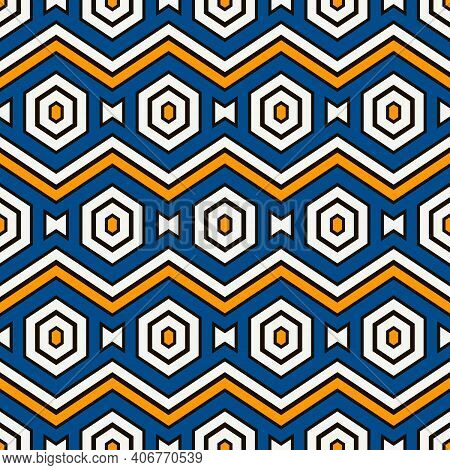 Zigzag Seamless Pattern. Hexagon Mosaic Tiles Ornament. Ethnic Surface Print. Repeated Geometric Fig