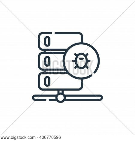 malware icon isolated on white background from database and servers collection. malware icon thin li