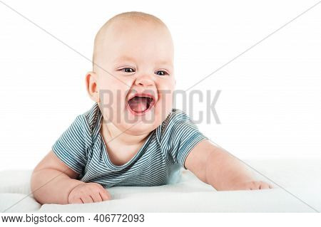 Close-up Child In Bodysuit Isolated On White Background. Child Care, Child Health, Teething. Funny T