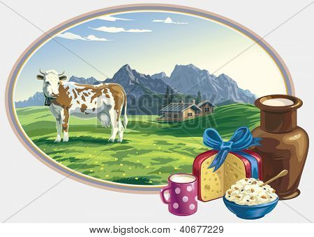 Rural landscape and dairy foodstuff.