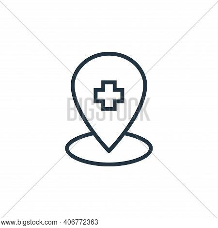 location icon isolated on white background from hospital collection. location icon thin line outline