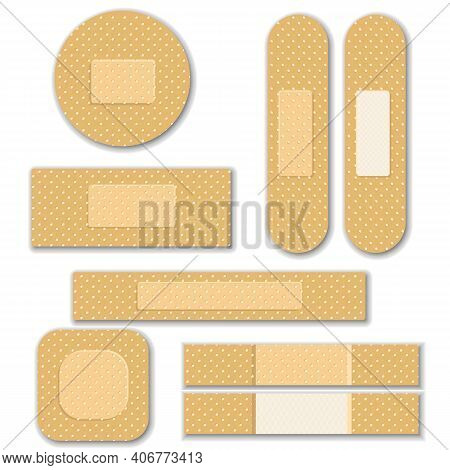 Set Of Isolated Vector Elastic Bandage Patch. Set Of Two Sided Adhesive Plasters. Oblong, Square, Ro