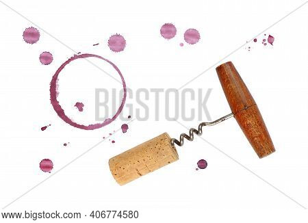 One Red Wine Cork, Corkscrew Bottle Opener, Dry Circle Ring Stain Of Glass And Blob Drops Isolated O