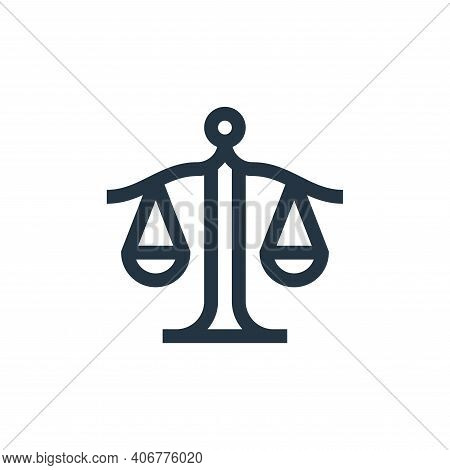 justice icon isolated on white background from management collection. justice icon thin line outline
