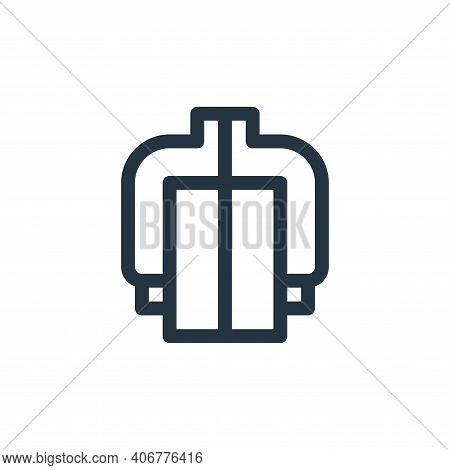 jacket icon isolated on white background from auto racing collection. jacket icon thin line outline