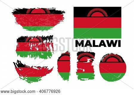 Flag Of Malawi Country. Happy Independence Day Of Malawi