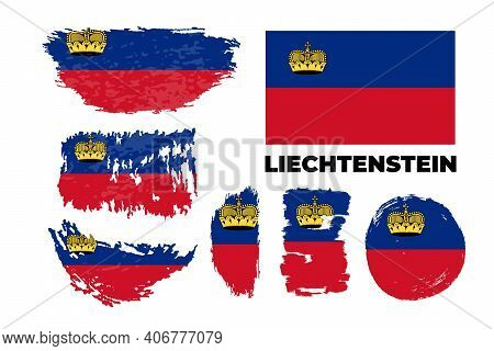 Flag Of Liechtenstein, Principality Of Liechtenstein. Template For Award Design