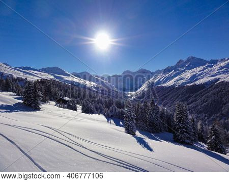 Freshly Snow Covered Winter Landscape In The Swiss Mountains. Davos Klosters. Graubunden