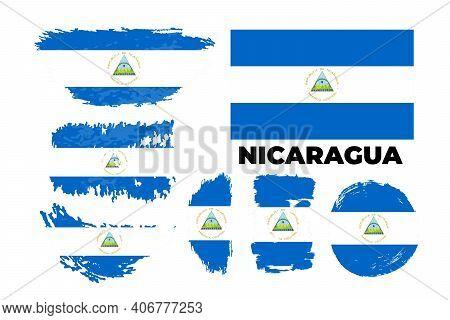 Flag Of Nicaragua, Republic Of Nicaragua. Template For Award Design,