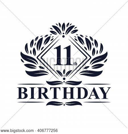 11 Years Birthday Logo, Luxury 11th Birthday Celebration.