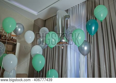 Grey Number 1 Made Of Inflatable Balloon Isolated On White Background . 1 Made Of Helium Balloon . S