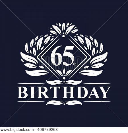 65 Years Birthday Logo, Luxury 65th Birthday Celebration.