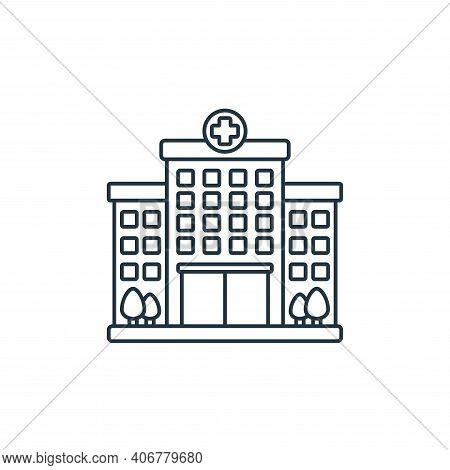 hospital icon isolated on white background from coronavirus covid collection. hospital icon thin lin