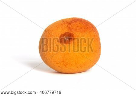 Spoilt Apricot Isolated On White Background. Cut Out Fruit.