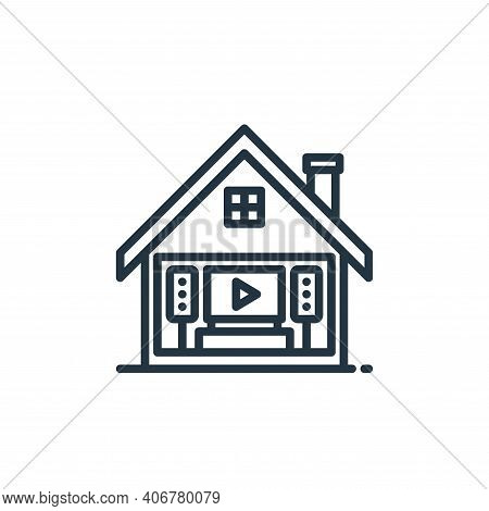 home theater icon isolated on white background from stay at home collection. home theater icon thin