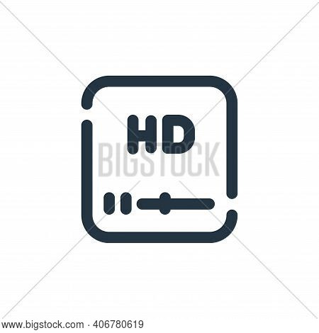 high definition icon isolated on white background from video collection. high definition icon thin l