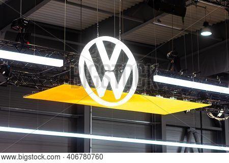 Vw Volkswagen Logo On The Car Show, Prague, Czechia, February 2020