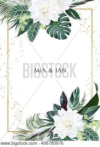 White Gardenia, Hibiscus, Green Monstera, Palm Tropical Leaves Template Vertical Card. Emerald Exoti