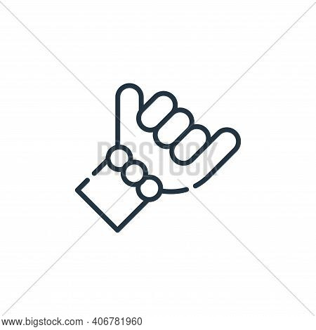 hang loose hand icon isolated on white background from reggae collection. hang loose hand icon thin
