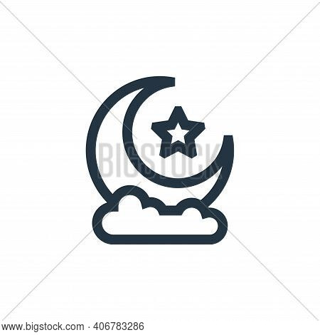 half moon icon isolated on white background from ramadan collection. half moon icon thin line outlin