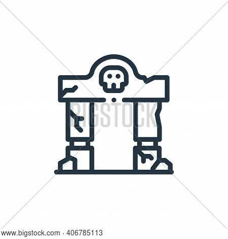 gate icon isolated on white background from videogame elements collection. gate icon thin line outli
