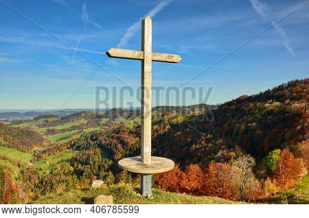 Summit Cross On The Hill, Autumn Mood. The Summit Cross Is On The Hirzegg, Zurich Oberland Swiss Alp