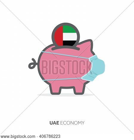 Uae Healthcare Savings. Piggy Bank With Medical Face Mask