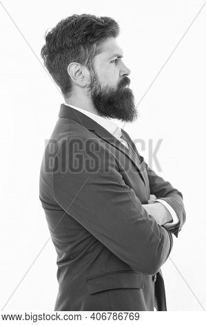 Brutal And Bearded. Hipster With Brutal Bearded Face. Barbershop. Brutal Look Of Confident Businessm