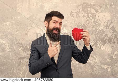 Alternative Valentines Day. Bearded Man Point Finger At Red Heart. Heart Transplantation. Red Life.