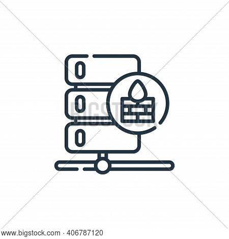 firewall icon isolated on white background from database and servers collection. firewall icon thin