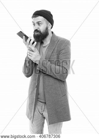 Mobile Call Concept. Important Conversation. Man Bearded Hipster Hold Mobile Phone White Background.