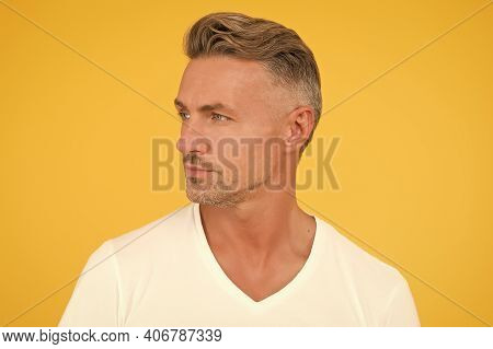 Barber Shop Concept. Barber And Hairdresser. Take Ageing With Respect. Man Mature Good Looking Model