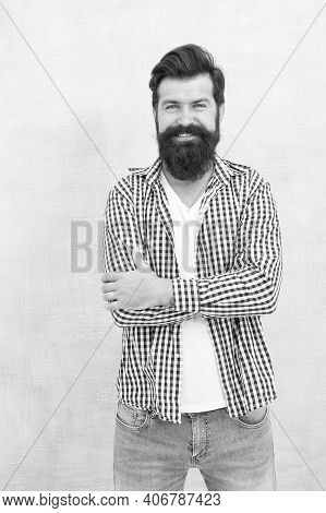 Any Length Any Style. Happy Hipster With Unshaven Beard Hair. Unshaven Man With Bearded Smile In Cas