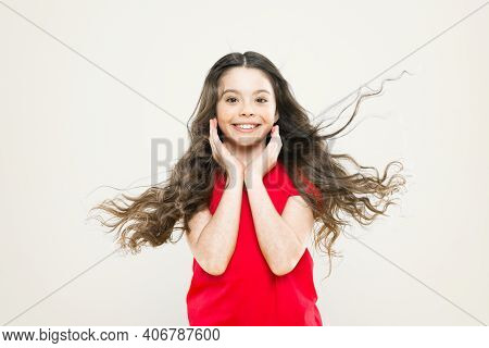 Smile Its Free Therapy. Adorable Little Girl With Big Smile On Yellow Background. Smiling Kid With W