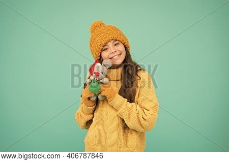 Happy Childhood. Soft Toys Are Best. Winter Outfit Child Play Cute Small Toy. Buy Gifts. Kindergarte