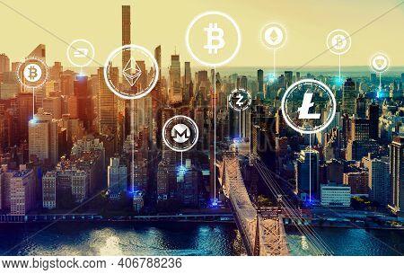 Cryptocurrency Theme With The New York City Skyline Near Midtown
