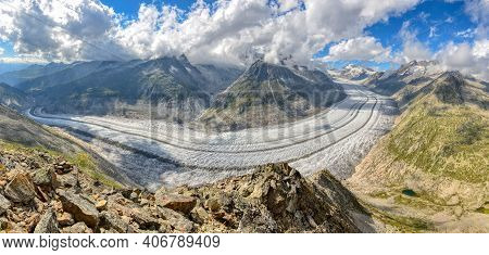 Aletsch Glacier From Eggishorn.largest And Longest Glaciers In Euopra, Valais Switzerland.panoramic
