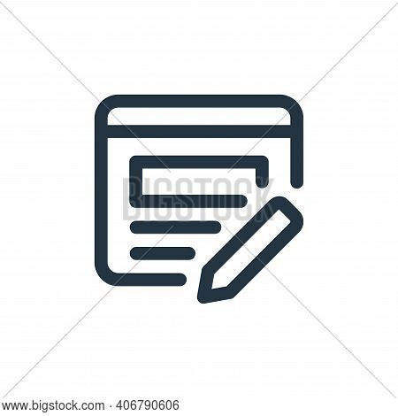 edit icon isolated on white background from web apps seo collection. edit icon thin line outline lin