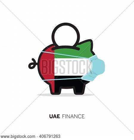Uae Healthcare Cost. Piggy Bank Wearing A Protective Face Mask