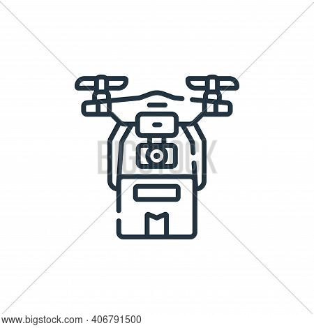 drone delivery icon isolated on white background from robotics collection. drone delivery icon thin