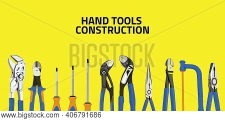 Vector Illustration Set Of Hand Tools, Hand Tools Illustration, Toolbox, Hand Tools Construction, To