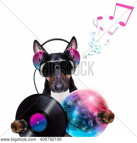 Dj Bull Terrier Dog Playing Music In A Club With Disco Ball , Isolated On White Background, With Vin