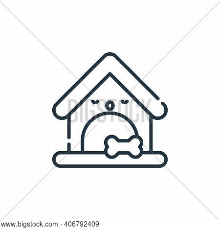 Dog house icon isolated on white background from pets collection. Dog house icon thin line outline l