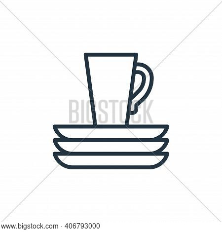 dishware icon isolated on white background from recycling collection. dishware icon thin line outlin