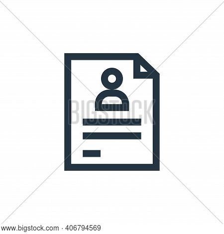 CV icon isolated on white background from marketing and growth collection. CV icon thin line outline
