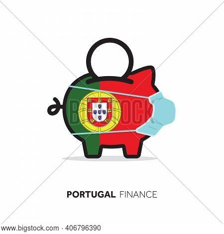 Portugal Healthcare Cost. Piggy Bank Wearing A Protective Face Mask