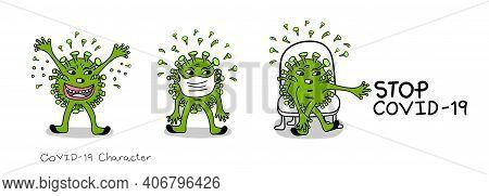 Covid-19 Cartoon Vector Characters,  Stop Coronavirus (covid-19), Corona Virus Danger And Public Hea