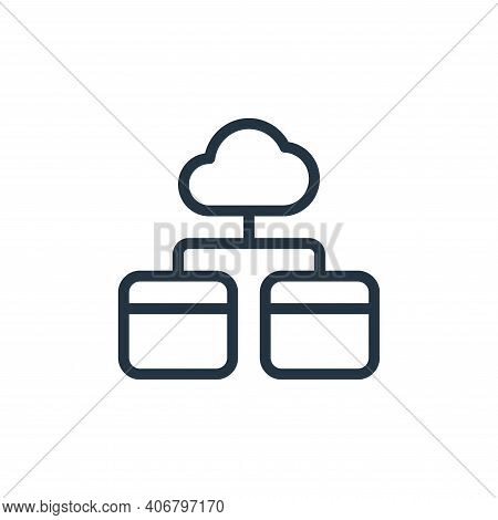 cloud storage icon isolated on white background from work office server collection. cloud storage ic